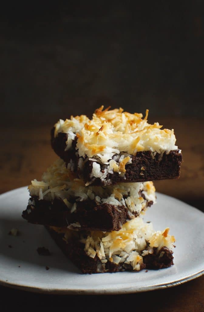 3 stacked coconut flourless chocolate brownies
