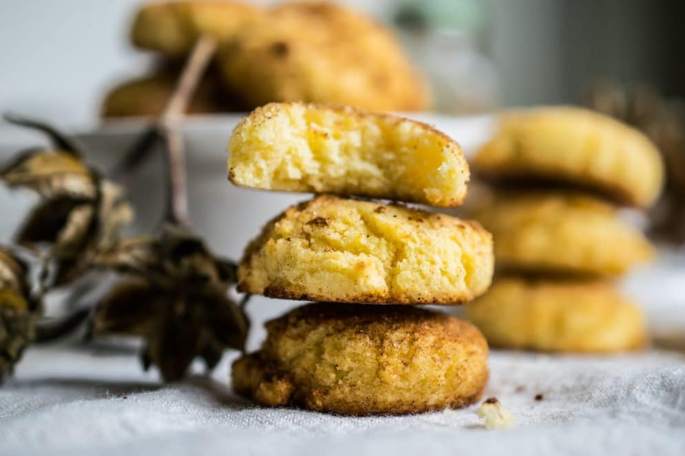 3 stacked keto snickerdoodle cookies