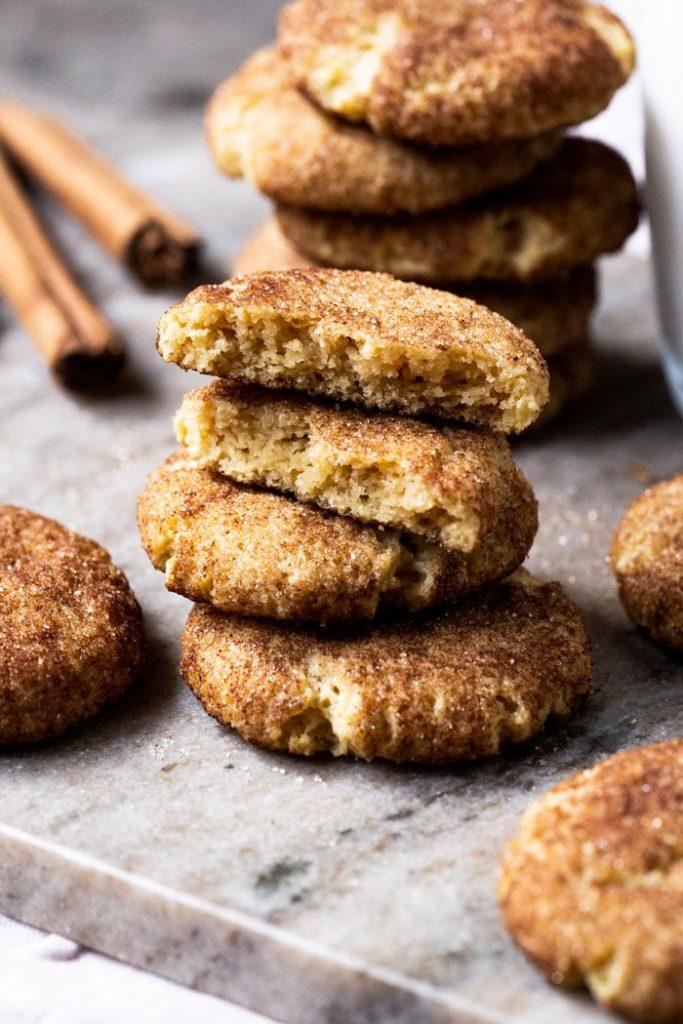 gluten free keto snickerdoodle cookies stacked and broken in half