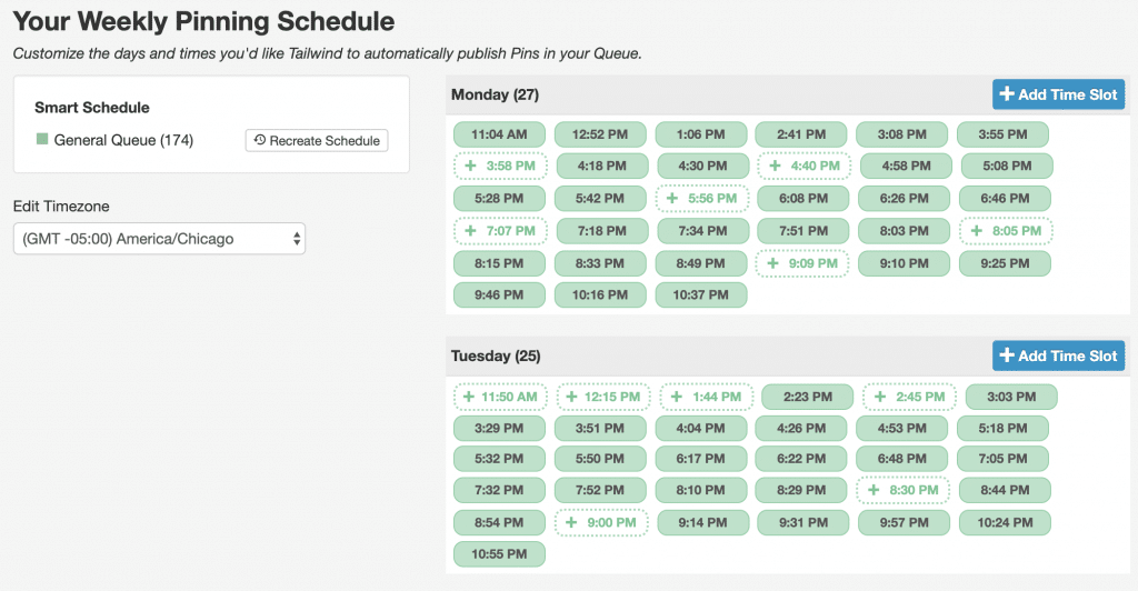 Tailwind for Pinterest SmartSchedule Screenshot of Times of Day to post