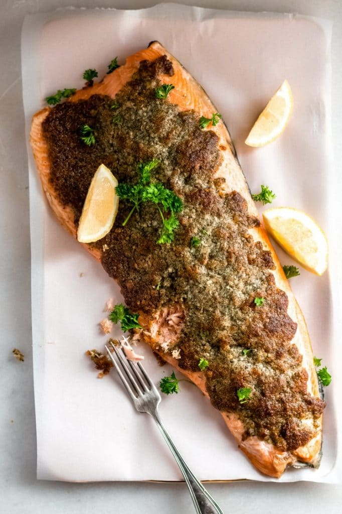 baked salmon with crispy parmesan dill topping