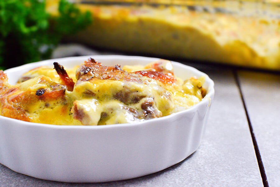 dish of ham and cheese bake