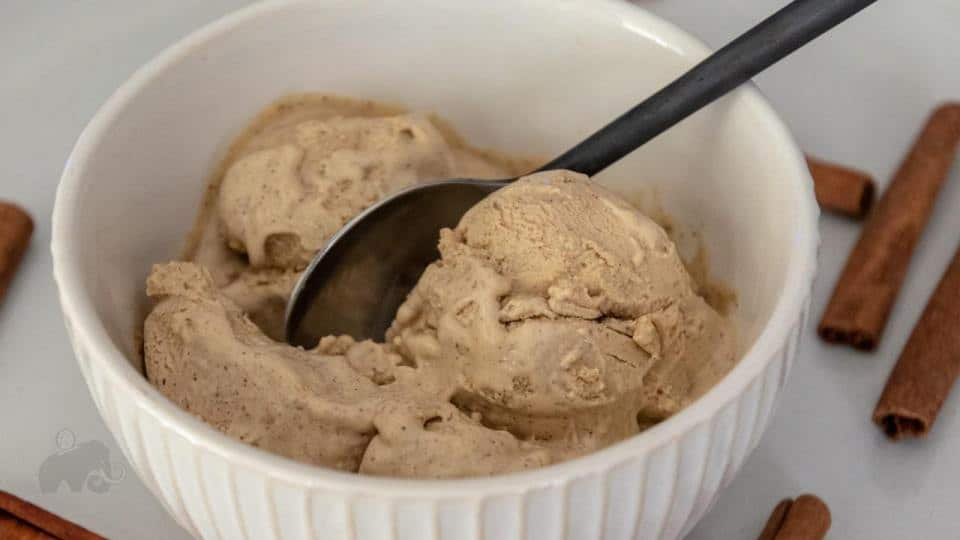 keto snickerdoodle ice cream with a spoon