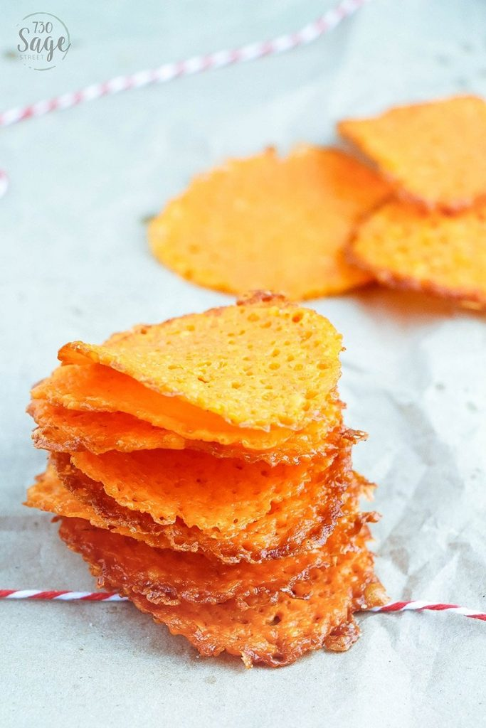 low carb garlic cheddar cheese crisps stacked high