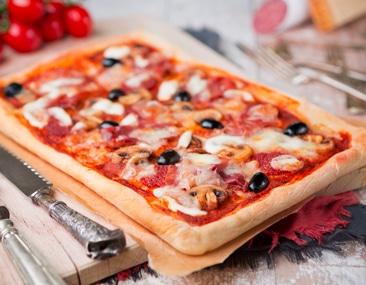 rectangular pizza made with mozzarella keto pizza dough