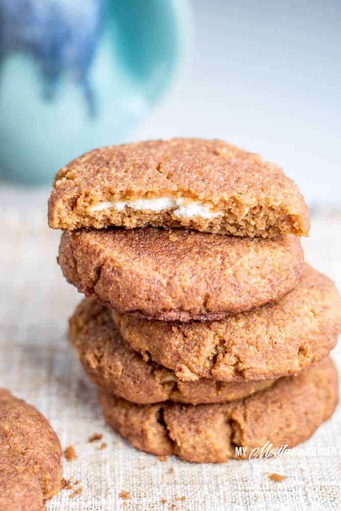 stack of 5 pumpkin cream cheese snickerdoodle cookies
