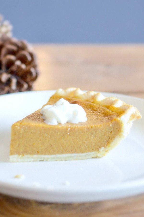 one slice of sugar free pumpkin pie topped with whipped cream