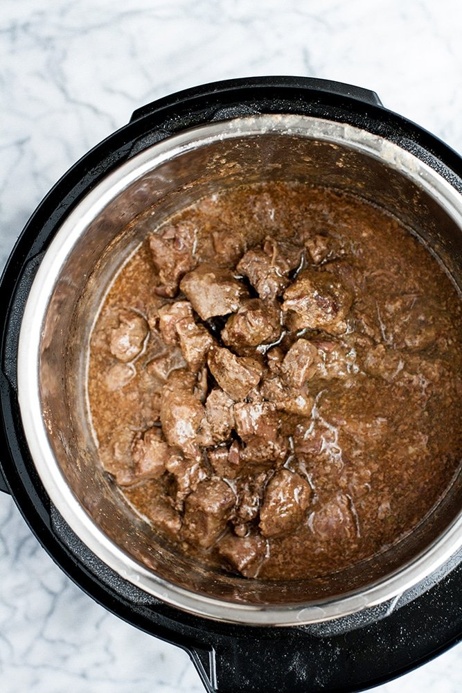 Keto Korean Barbecue Beef Freezer Meal cooked in an instant pot