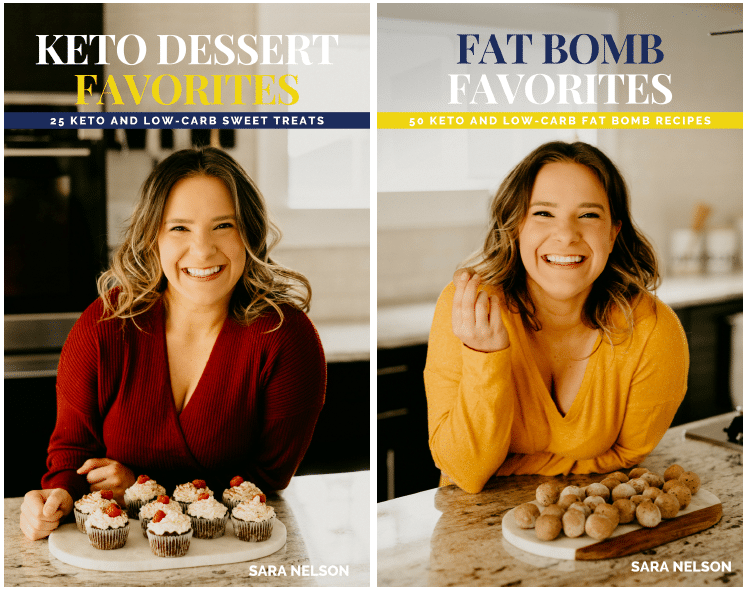 side-by-side image of 2 keto ecookbooks by Sara Nelson