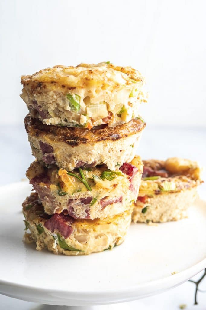 a stack of baked keto breakfast muffins
