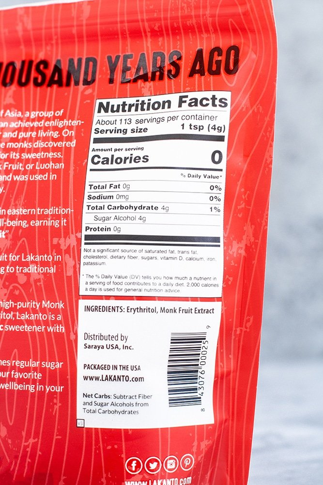 monk fruit sweetener nutrition facts - back