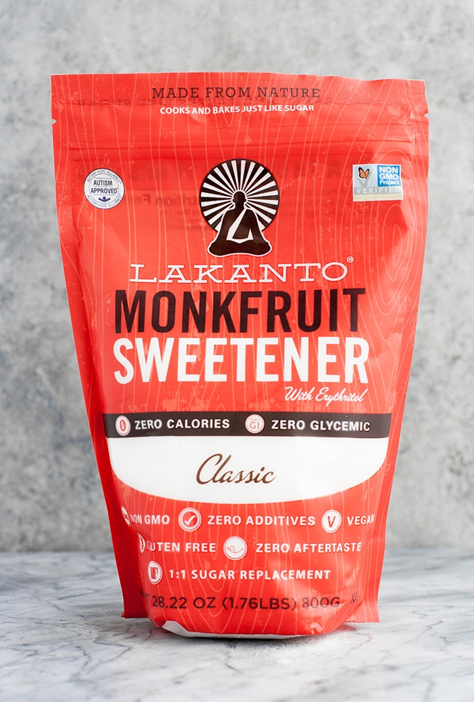 a red bag of lakanto classic monkfruit sweetener