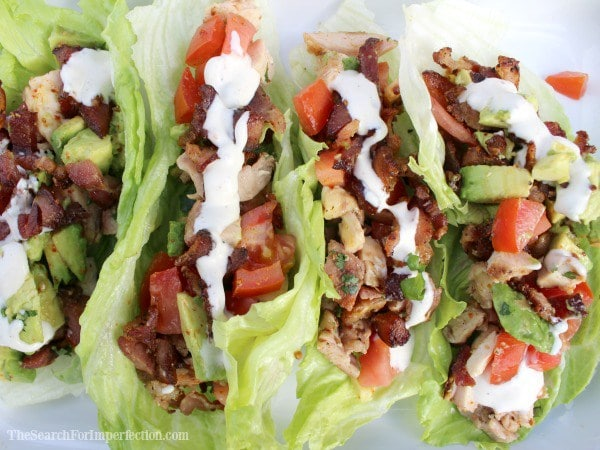 4 chicken bacon avocado ranch lettuce wraps lined up