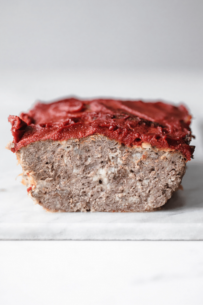 keto meatloaf on marble slab
