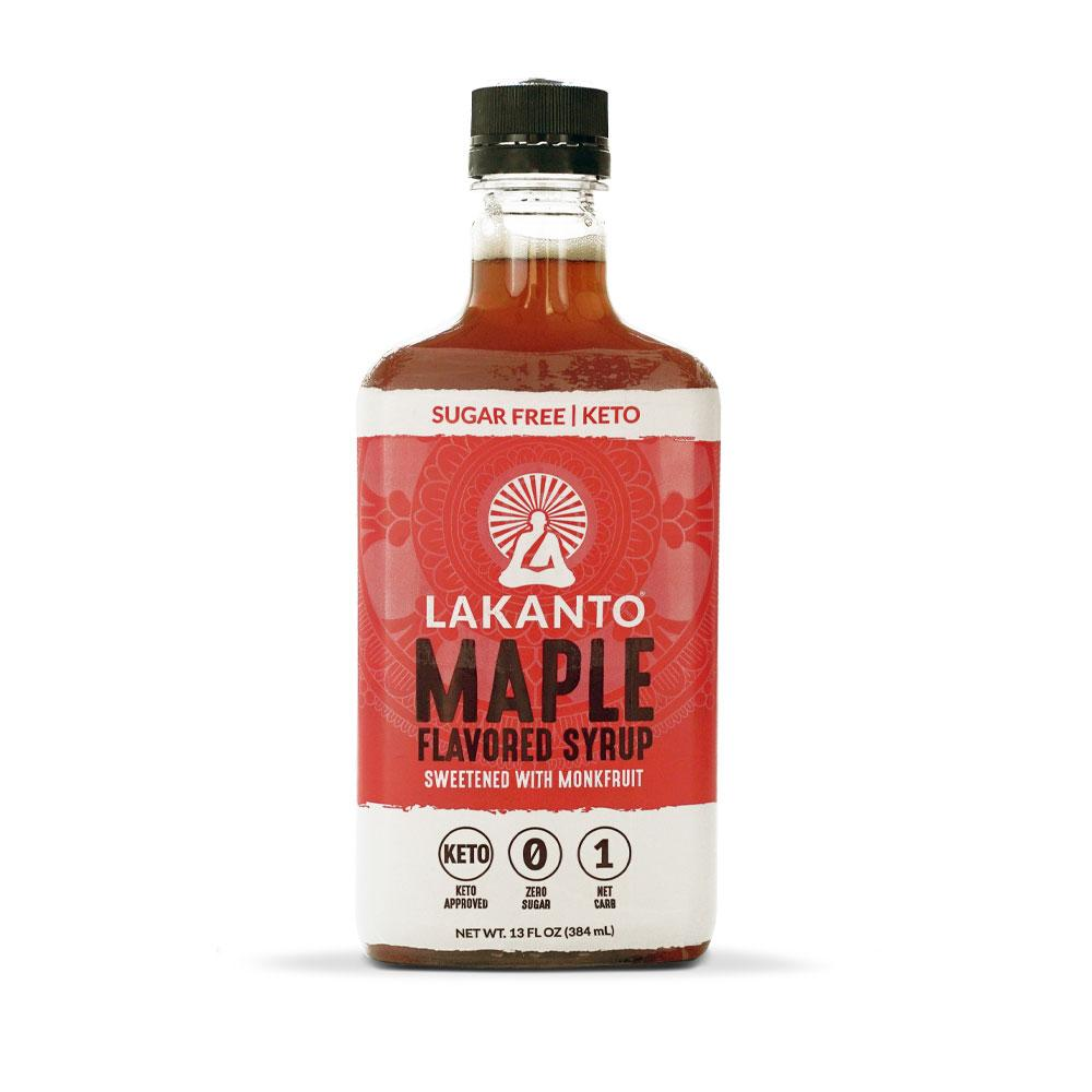 a bottle of lakanto maple flavored syrup