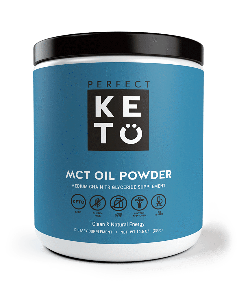 a container of perfect keto mct oil powder