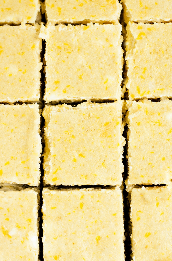 keto lemon bars cut into squares