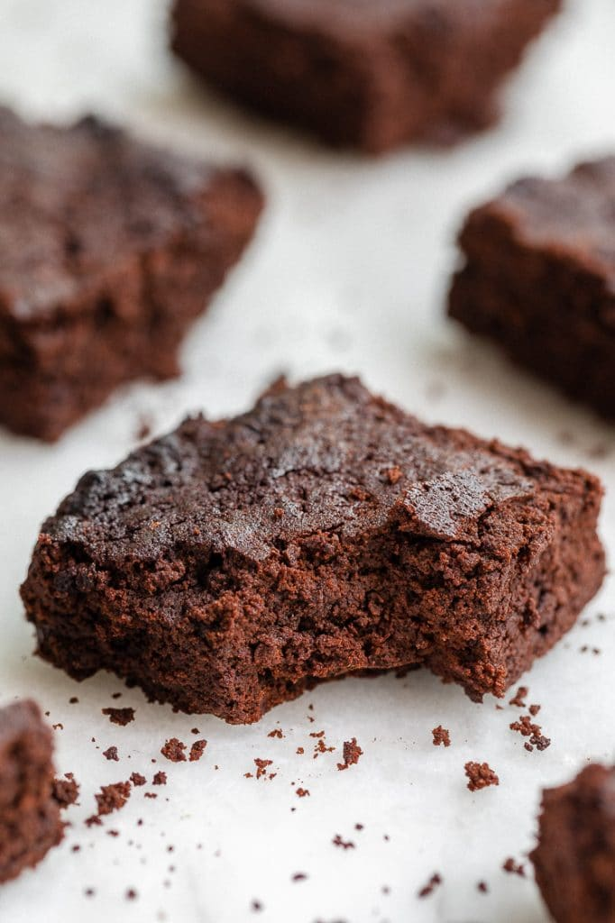 Keto Flourless Mocha Brownies bitten through