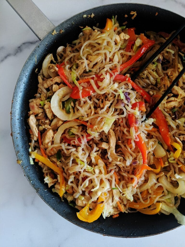keto lo mein in a stovetop skillet