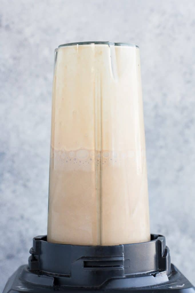 low carb mocha smoothie blended in a high speed blender