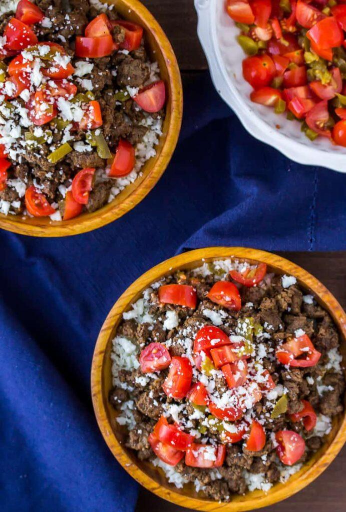 2 bowls of keto mexican beef bowls