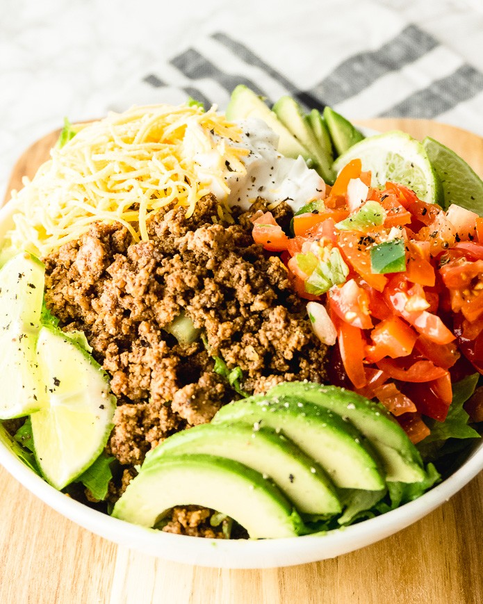 keto taco salad loaded with toppings
