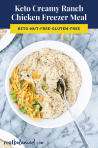 Keto Creamy Ranch Chicken Freezer Meal Pinterest pin image