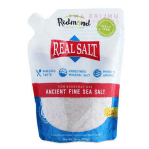 a bag of Redmon Real Salt