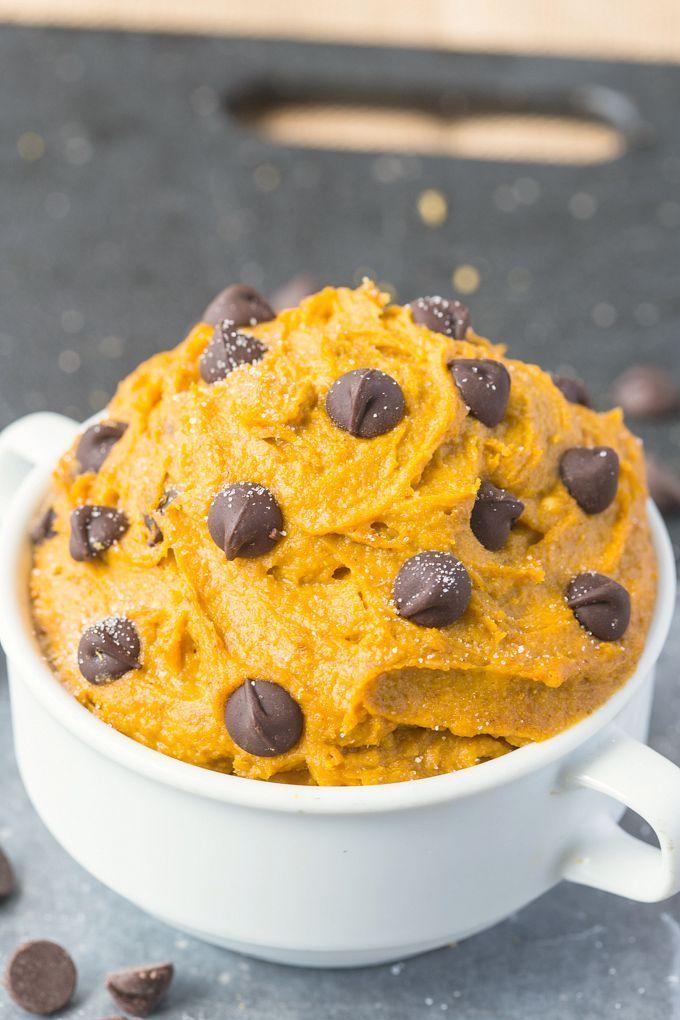 healthy pumpkin cookie dough in a mug