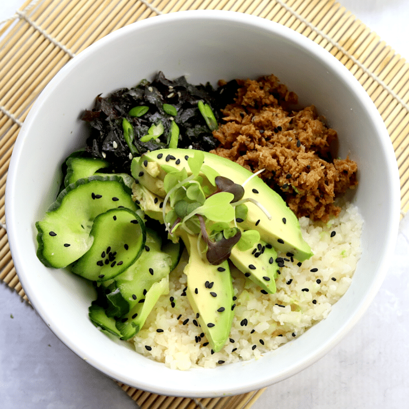 vegan keto sushi bowl