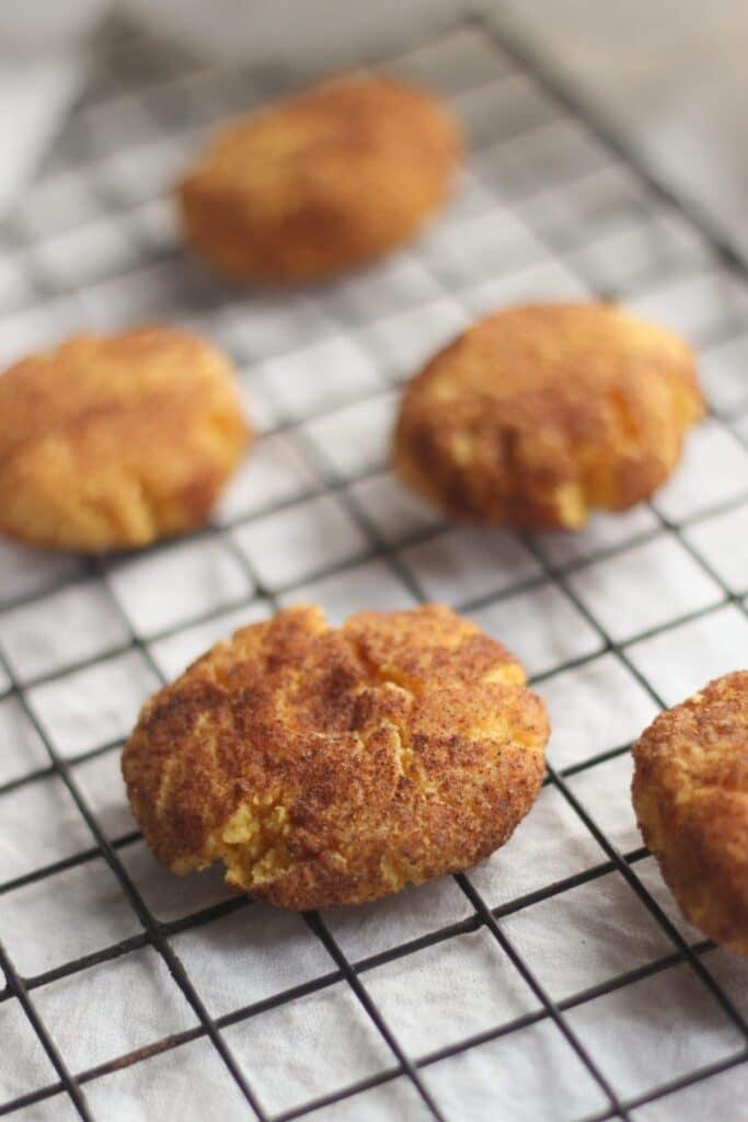 5 Keto Pumpkin Cookies on a cooling rack