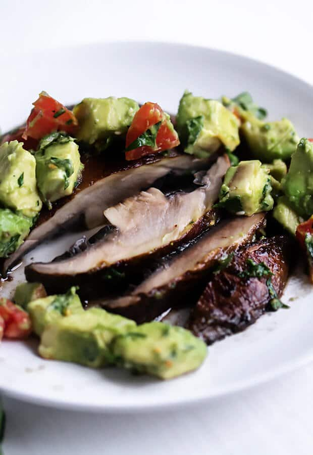 keto vegan portobello steaks with avocado salsa on a plate