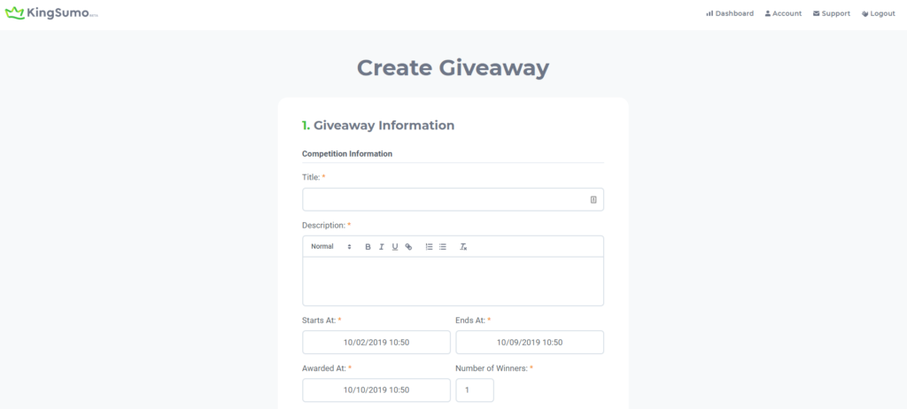 Kingsumo step 1 in how to set up the giveaway