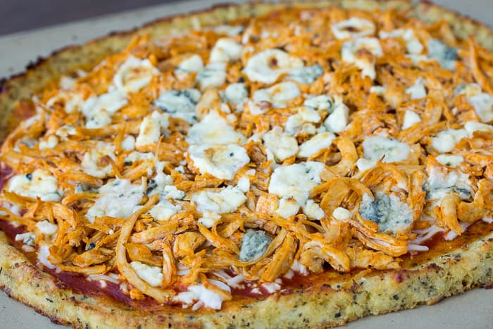close-up soht of Low Carb Buffalo Chicken Pizza