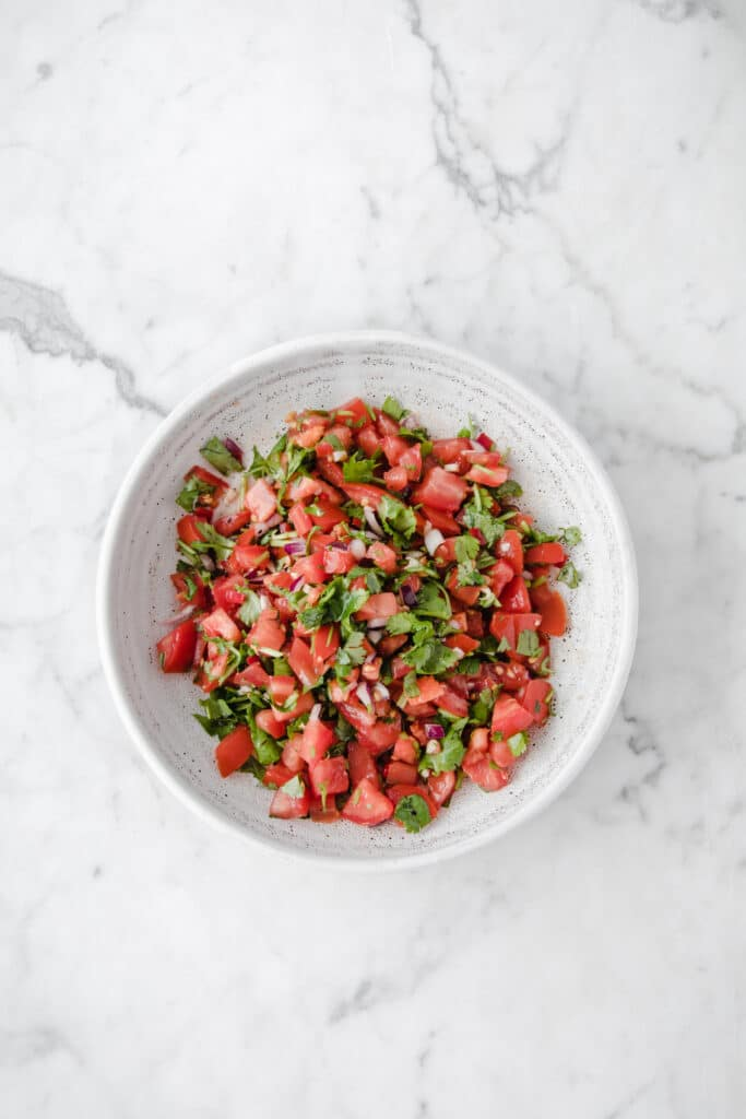 overhead shot of a bowl of finished keto salsa