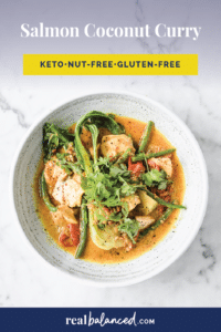 Keto Salmon Coconut Curry Pinterest Pin image