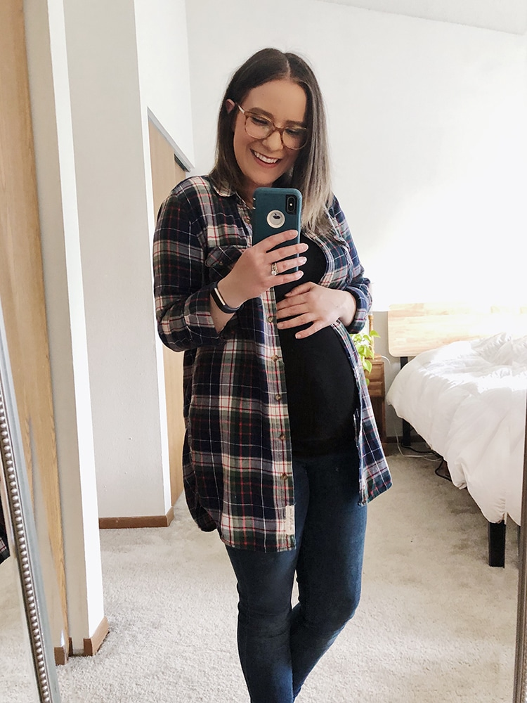 Maternity fall fashion H&M blue plaid flannel from Goodwill Milwaukee
