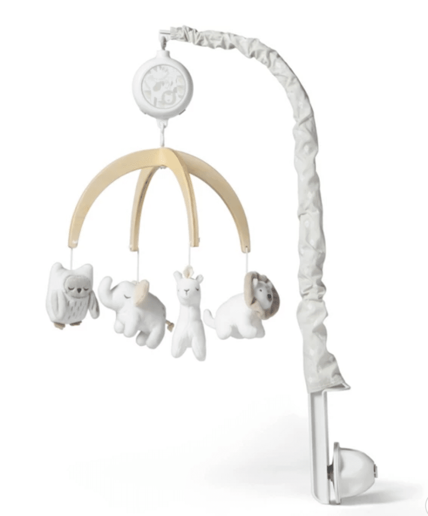 Gender Neutral Crib Mobile Wood with plush toys hanging