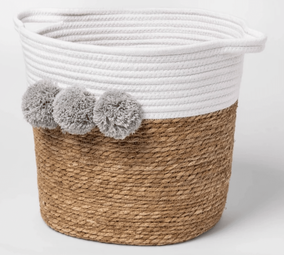 Decorative rope basket for baby nursery