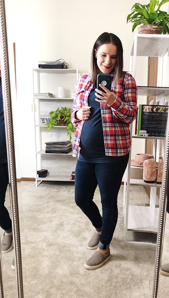 Maternity fall fashion thrifted red plaid flannel from Goodwill Milwaukee