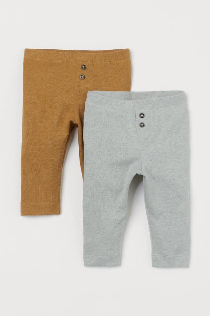 2-pair Gender Neutral H&M baby leggings in orange and gray