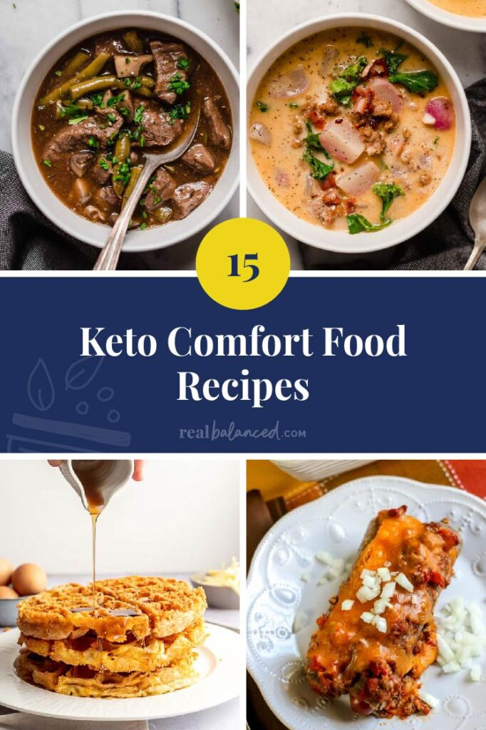 15 keto comfort food recipes featured collage image