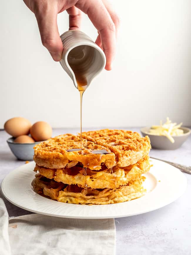 maple-syrup-poured-on-keto-chaffles