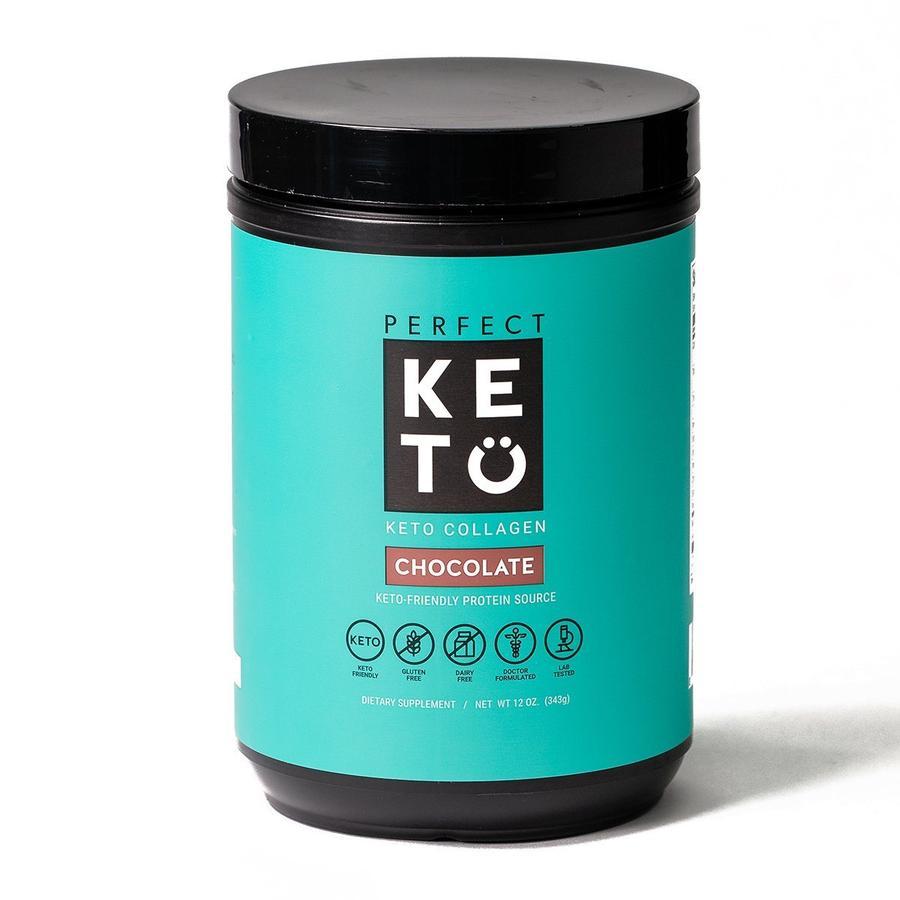 perfect keto chocolate keto collagen container