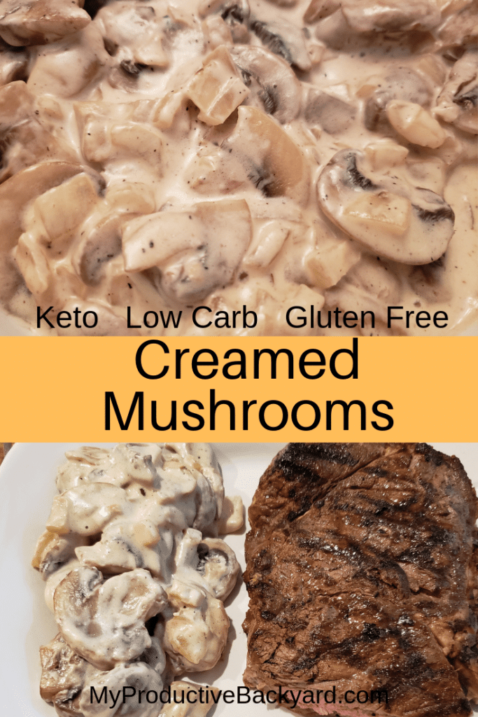 a collage of creamed mushrooms and steak