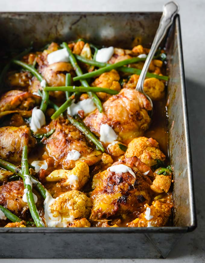 keto curry chicken in a pan