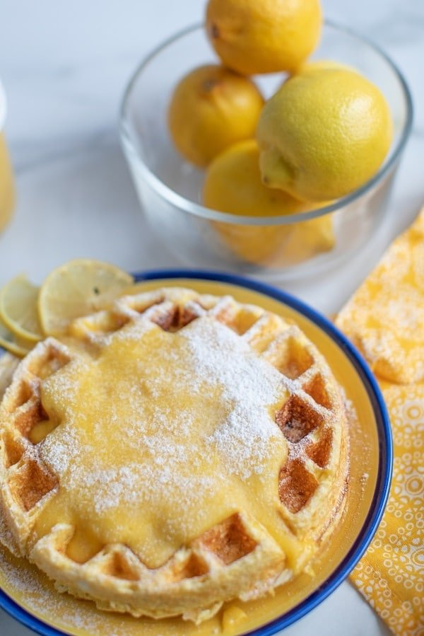 cream cheese chaffle with lemon curd on a plate