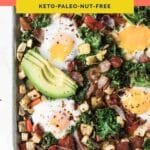 Keto Sheet Pan Breakfast Hash Pinterest coral banner pin image