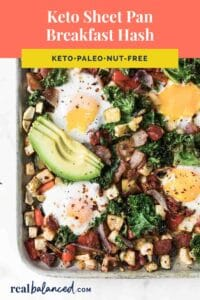 Keto Sheet Pan Breakfast Hash Pinterest coral banner pin image