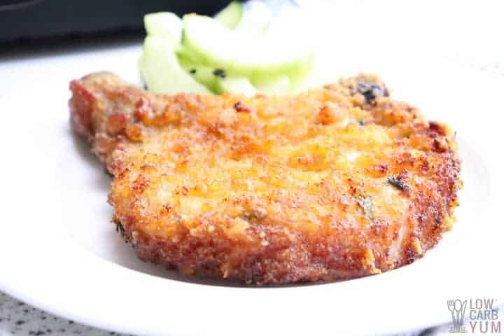 keto breaded pork chop on a plate